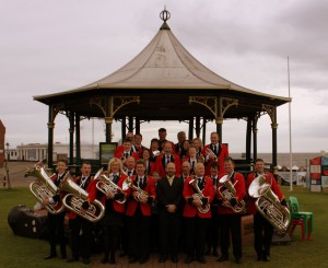 Concert at dusk in Priory Memorial Gardens - Royston Town Band